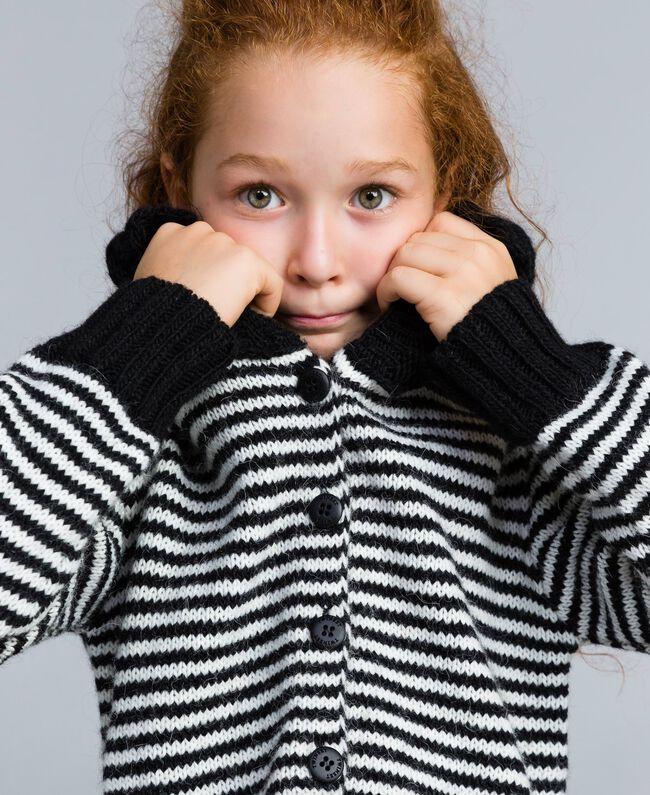 Cardigan en laine mélangée rayée Bicolore Noir / Blanc Cassé Enfant GA83KA-04