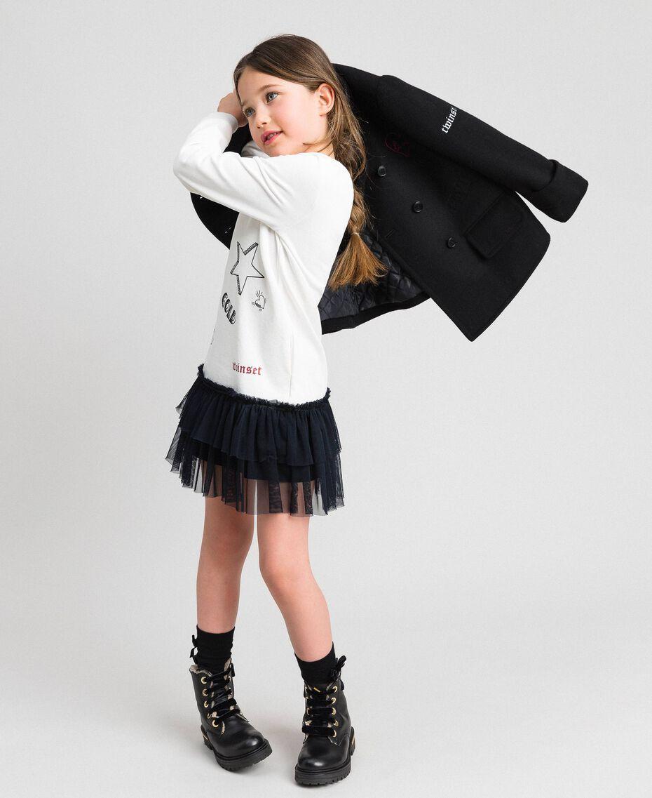 Cappotto in panno con ricami Nero Bambina 192GJ2102-0T