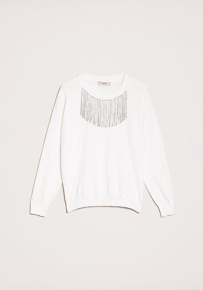Pullover mit Strassfransen