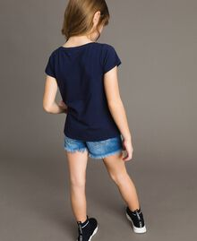 T-shirt in cotone stretch con strass Indaco Bambina 191GJ2462-03