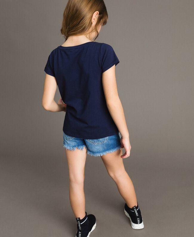 T-shirt en coton stretch avec strass Indigo Enfant 191GJ2462-03