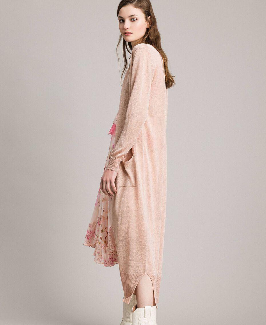 Lurex maxi cardigan Light Pearl Pink Lurex Woman 191TP3220-01