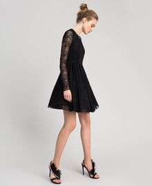 Sandales en satin avec plumes Noir Femme 192TQP050-0S