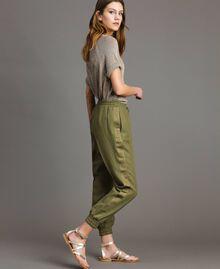 "Pantalon de jogging en lin Vert ""Olive"" Femme 191TT230B-02"