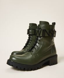 Combat boots with lettering logo Dark Olive Green Woman 202TCP03G-01