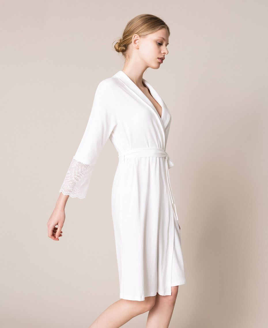 Lace dressing gown Ivory Woman 201LL21FF-02