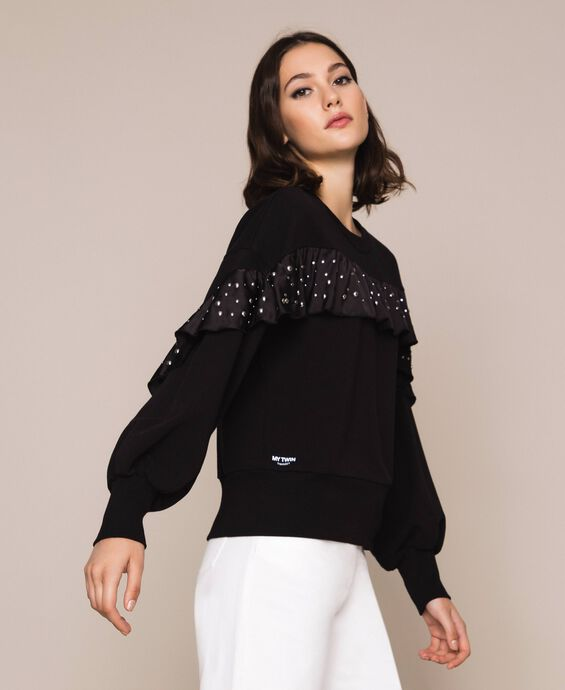 Sweatshirt with satin flounce and studs