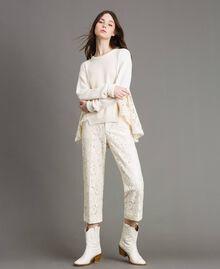 Pullover mit Spitzendetails Weiß Schnee Frau 191TP3202-02