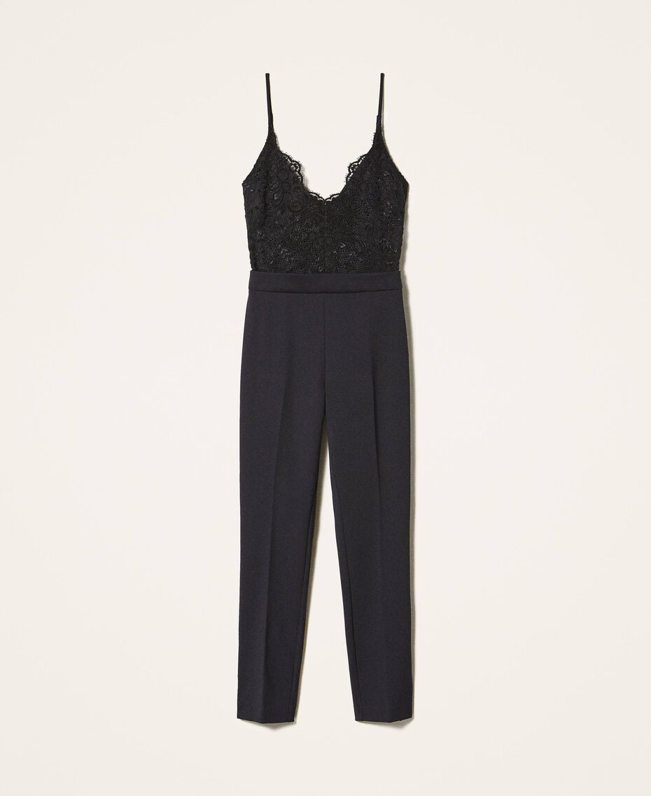 Crêpe de Chine and lace jumpsuit Black Woman 202TT2282-0S