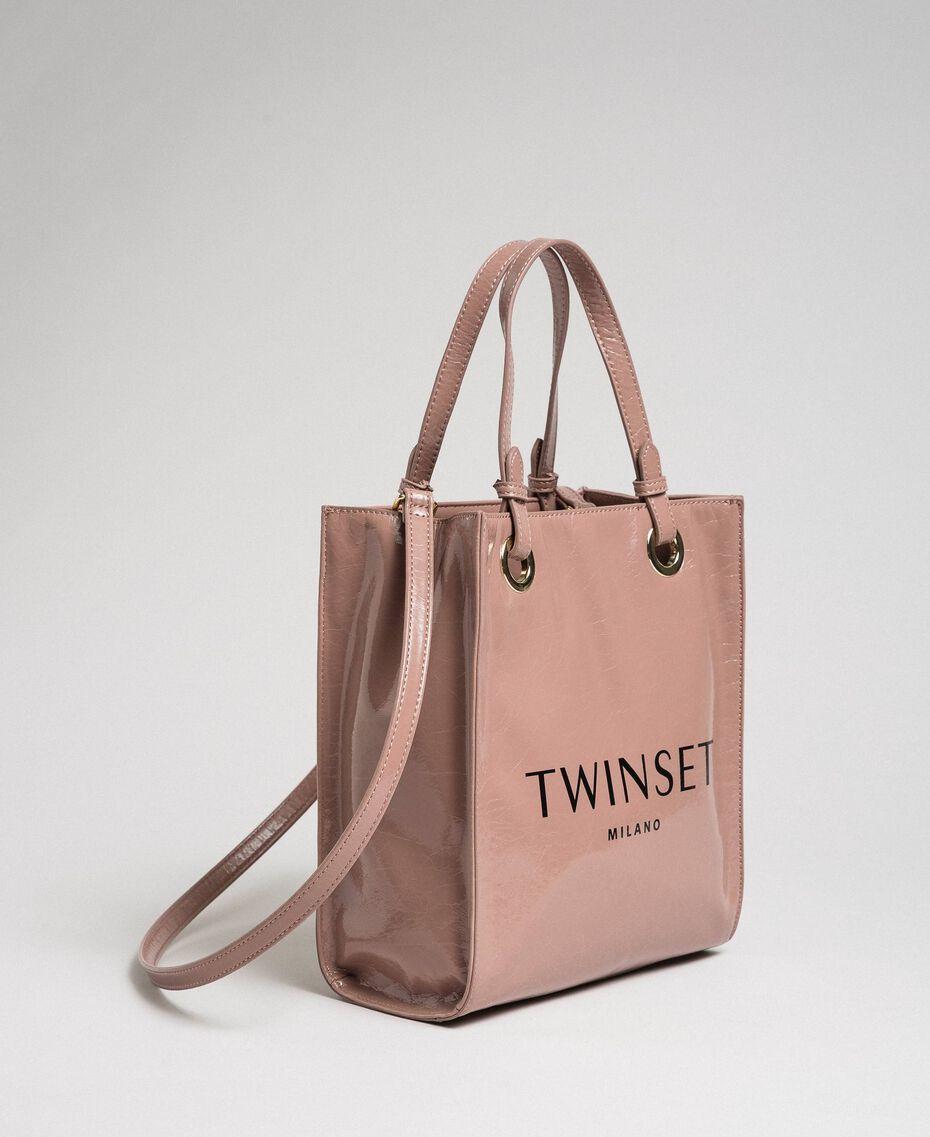 Маленькая сумка-шоппер из блестящей искусственной кожи Пыльный Розовый женщина 192TA7171-01