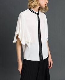 Chemise en crêpe de Chine de soie mélangée Blanc Neige Femme 192TP2260-05