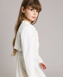 Faux leather cropped jacket Pale Cream Child 191GJ2500-03