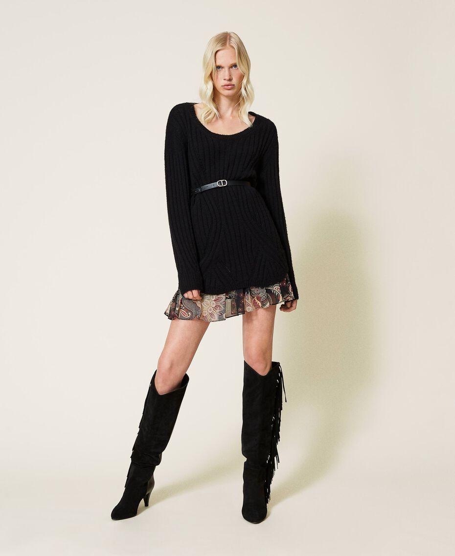Robe en laine mélangée avec fond de robe floral Bicolore Noir / Imprimé Indian Flower Noir Femme 212TP3510-01