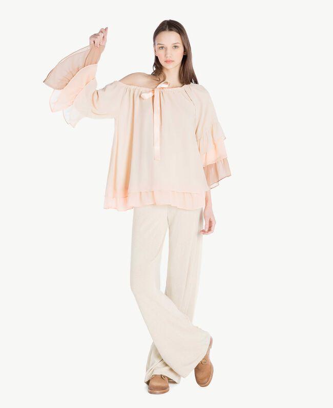 "Flounced blouse Multicolour ""Rope"" Beige Woman SS82DB-05"