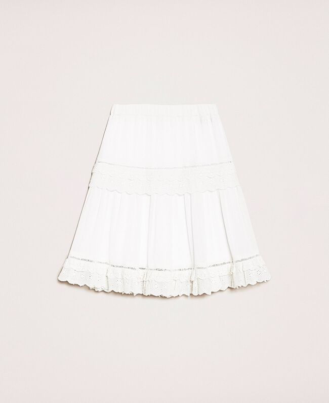 Creponne skirt with broderie anglaise Off White Child 201GJ2462-0S