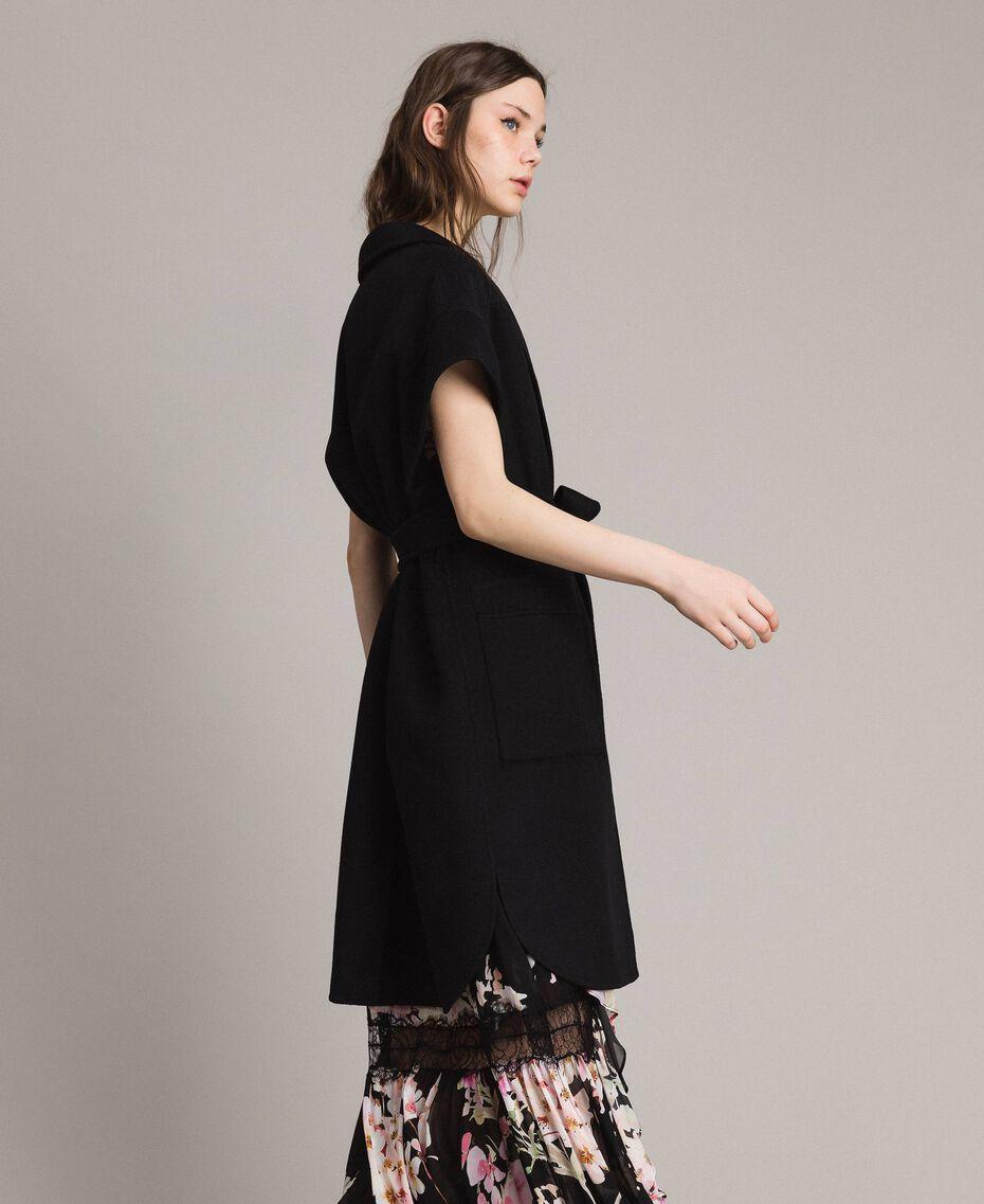 Double wool cloth waistcoat Black Woman 191TP2482-02