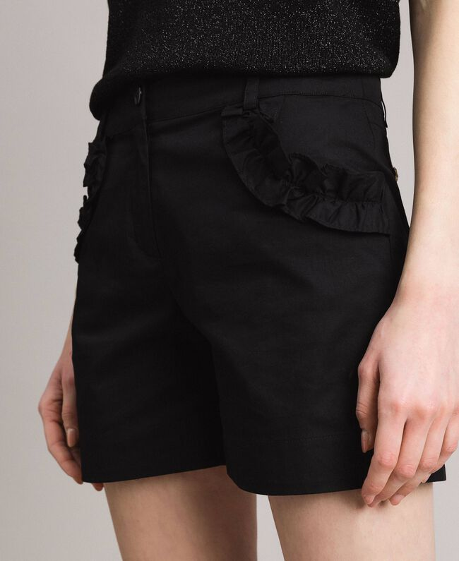 Poplin shorts with ruches Black Woman 191MT2053-04