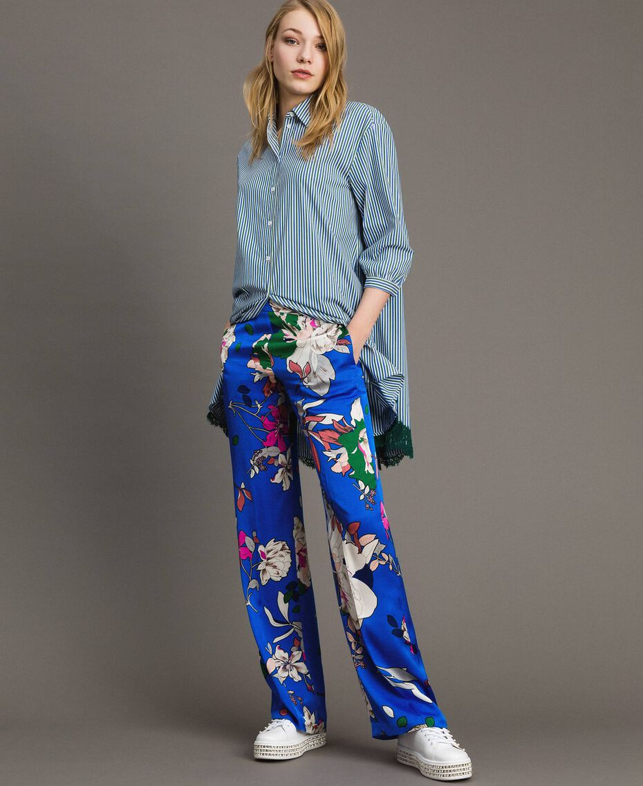 Floral satin palazzo trousers Wind Flower Cornflower Blue Print Woman 191TP2472-02