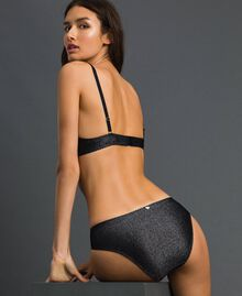 Lurex briefs with lace inlay Silver Lurex Black Woman 192LL6B66-03