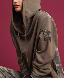 Maxi sweatshirt with camouflage details Military Gold / Camouflage Print Woman 192TP2040-01