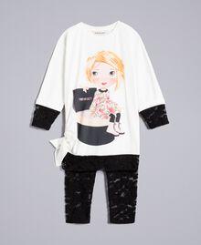 T-Shirt mit Print und Leggings aus Spitze Zweifarbig Off White / Schwarz Kind FA821V-01