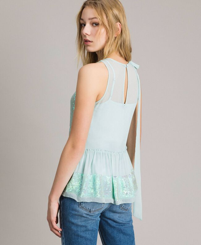 Georgette sequin top Acquamarine Woman 191TP2584-03