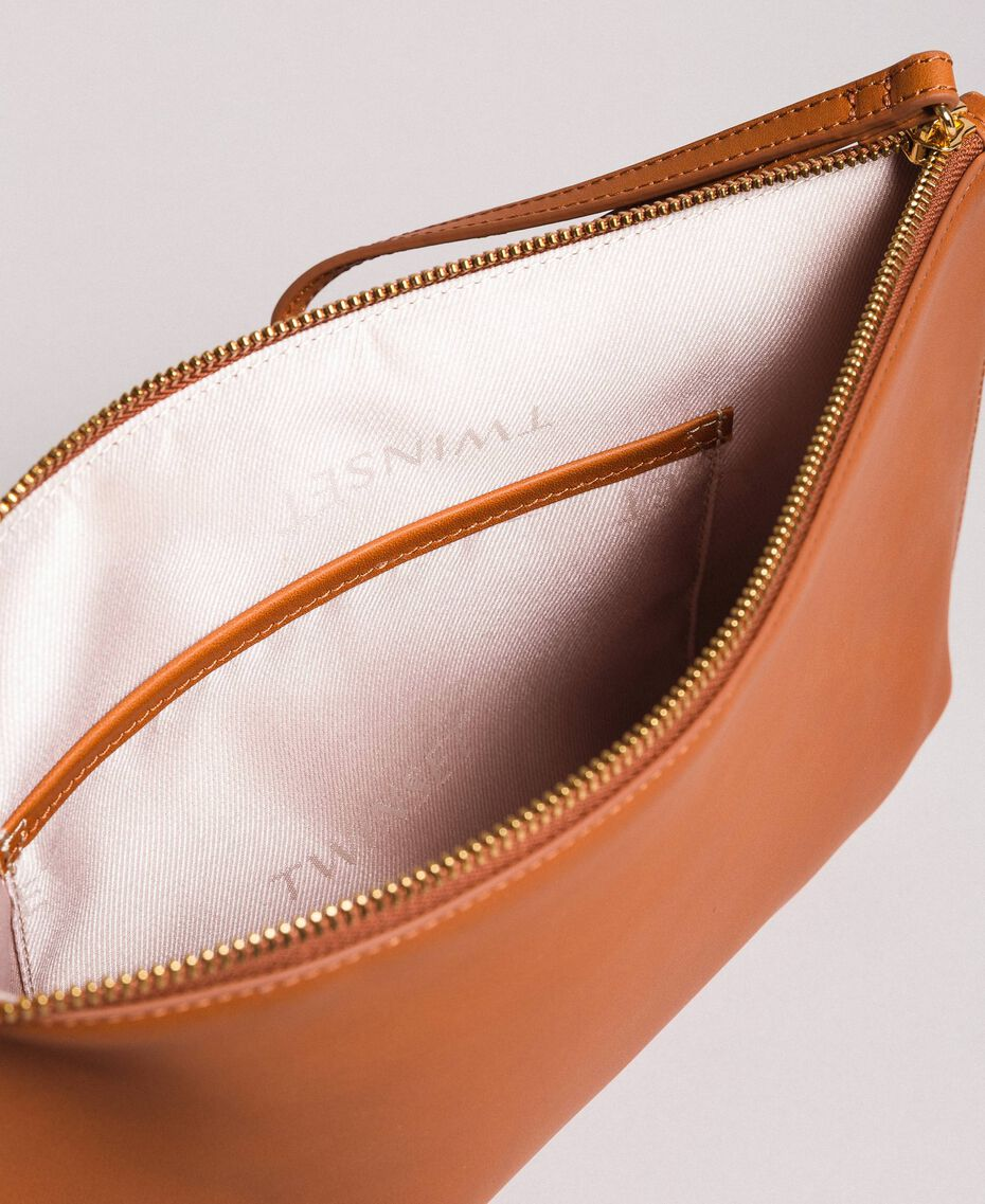 Studded leather clutch bag Leather Brown Woman 191TO8263-05
