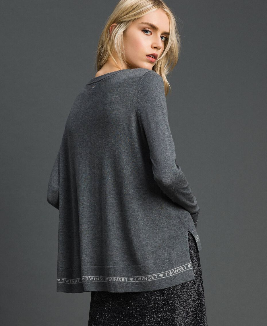 Silk and cashmere jumper with logo Melange Grey Woman 192TP3151-03
