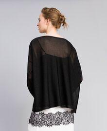 Pullover aus Lurex mit Blumenintarsie Lurex Schwarz Frau PA836Q-03