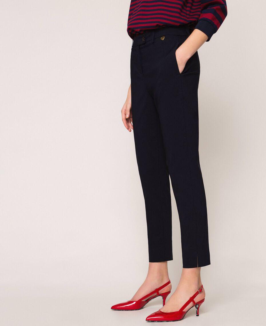 Pantalon ajusté avec poches Bleu Nuit Femme 201TP2511-02
