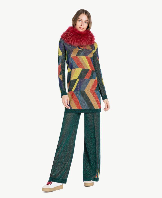 "Vestido de jacquard de lúrex Multicolor ""Jacquard Geométrico"" Femenino PA738S-06"