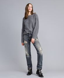 Vintage-inspired jeans Grey Denim Woman JA82YB-01