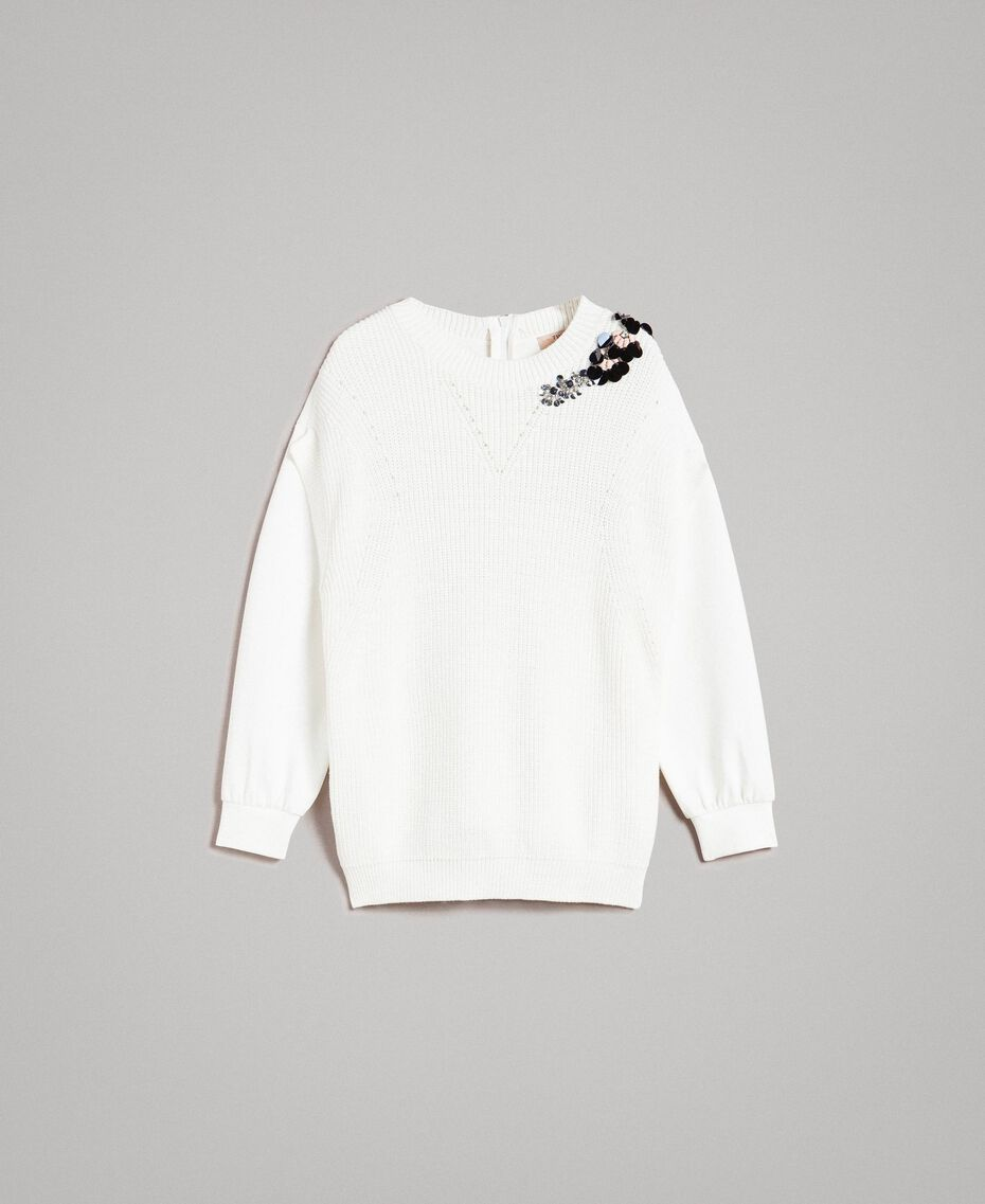 Stricksweatshirt aus Baumwolle mit Mailand-Stich Seidenweiß Frau 191TP2071-0S