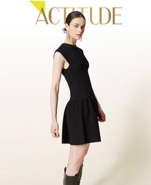 Robe côtelée avec jupe plissée Noir Femme 212AP3280-01