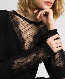 Robe avec dentelle et tulle plumetis Noir Femme 192TP3170-01
