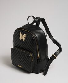 Quilted leather backpack with jewel-butterfly Black Woman 192TA7100-01