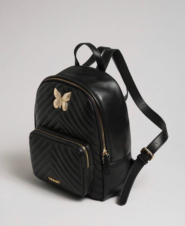 Sac à dos en cuir matelassé avec papillon-bijou Noir Femme 192TA7100-01