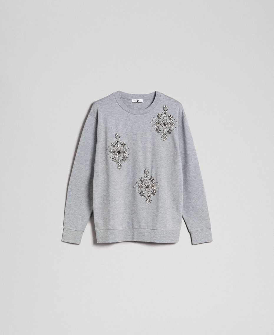 Sweatshirt with stone and pearl embroidery Melange Grey Woman 192LI2UGG-0S