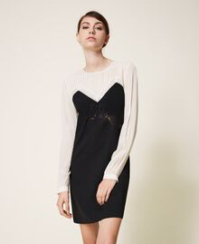 Two-tone dress with lace Two-tone Cream White / Black Woman 202TP2311-01