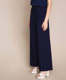 Pin stripe palazzo trousers Midnight Blue Pin Stripe Jacquard Woman 201ST2083-05