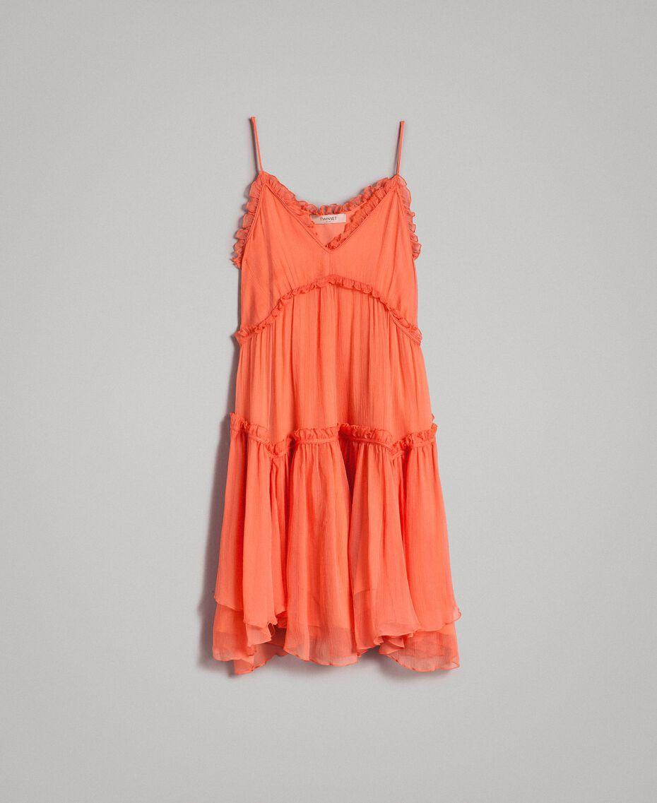 """Robe en soie avec volants Rouge """"Pomme Sauvage"""" Femme 191TT2422-0S"""