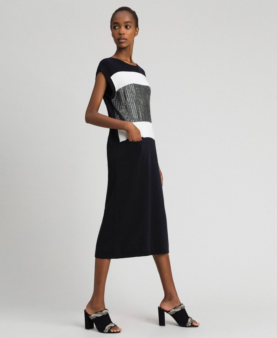 "Colour block dress with sequin embroidery Black Striped / ""Snow"" White / Dark Melange Grey Woman 192ST3073-02"