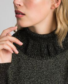 Ribbed lurex mock turtle neck Black Lurex Woman 192TT3201-03