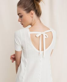 Dress with stitching and frills White Woman 201ST3066-04