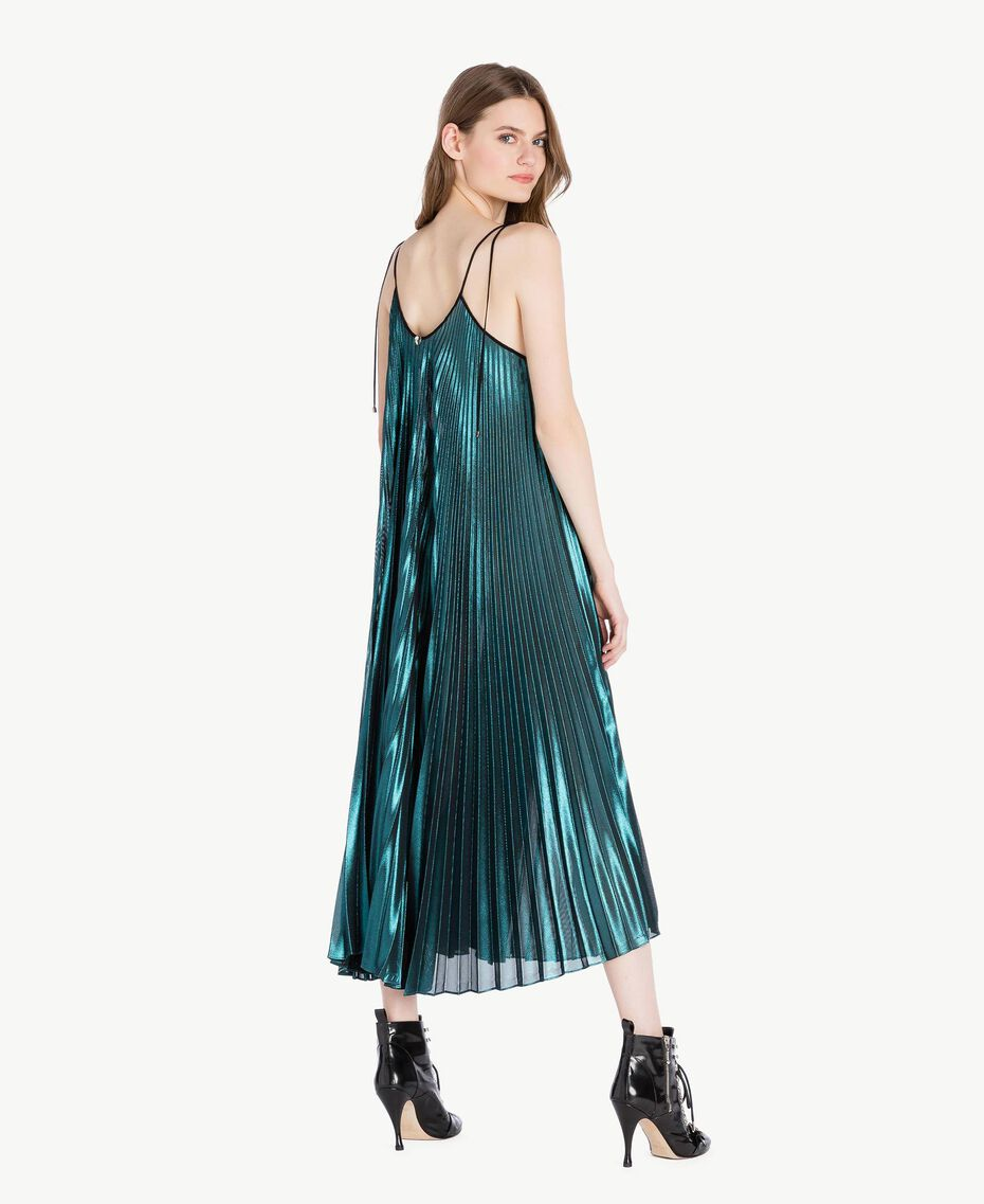 Long pleated dress Metallic Turquoise Woman PS82QP-03