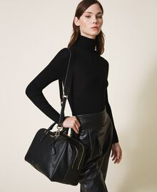 Bowler bag with dual compartment Black Woman 202TB7030-0S