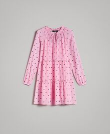 Georgette polka dot dress with flounces Hydrangea Pink Heart Polka Dot Print Woman 191MP2336-0S