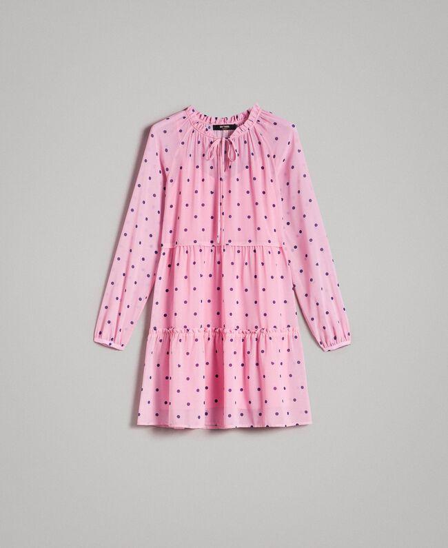 Georgette polka dot dress with flounces Hydrangea Pink Heart Polka Dot Print Woman 191MP2336-0S