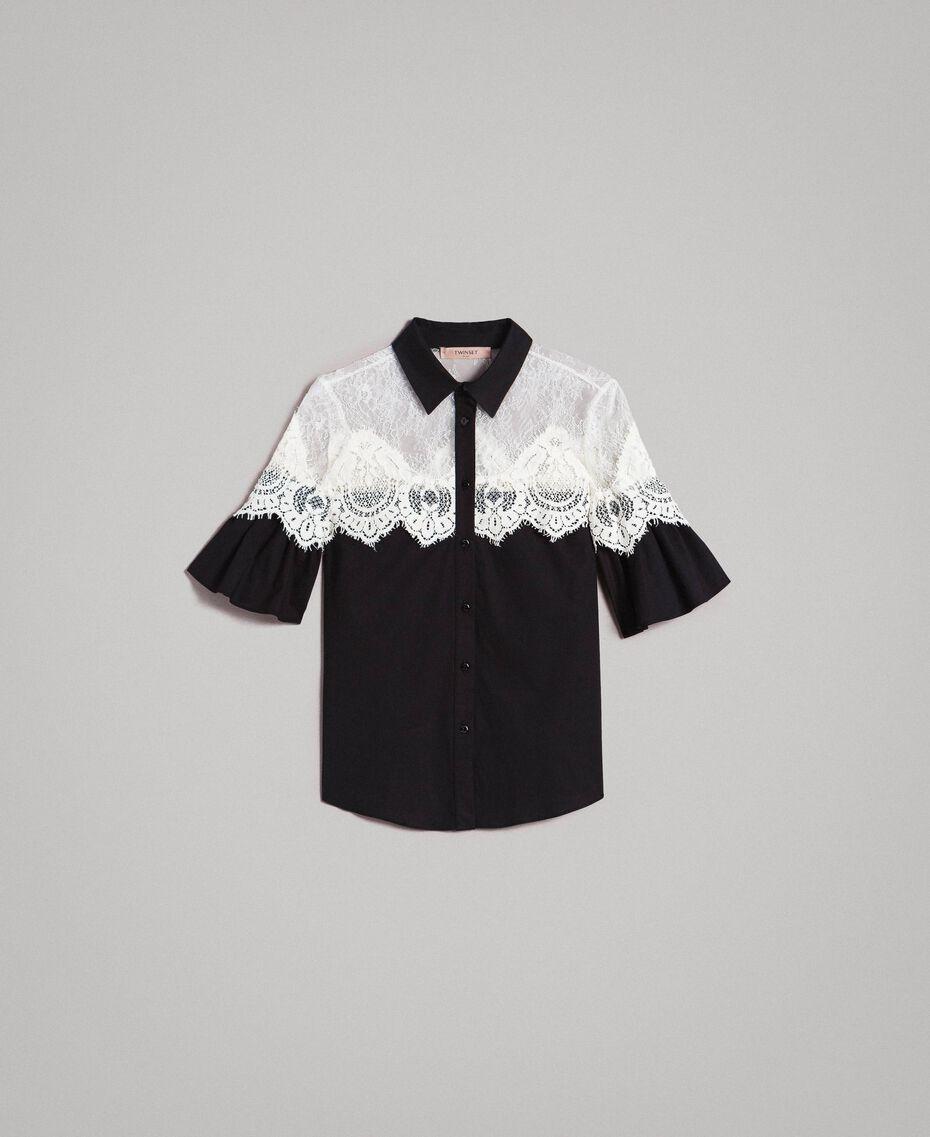 Poplin shirt with lace inlays Black Woman 191TT2120-0S
