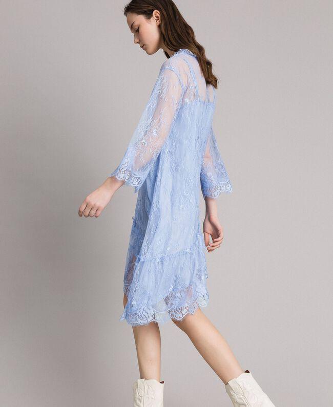 Robe asymétrique en dentelle de Chantilly Bleu Clair Atmosphere Femme 191ST2120-06